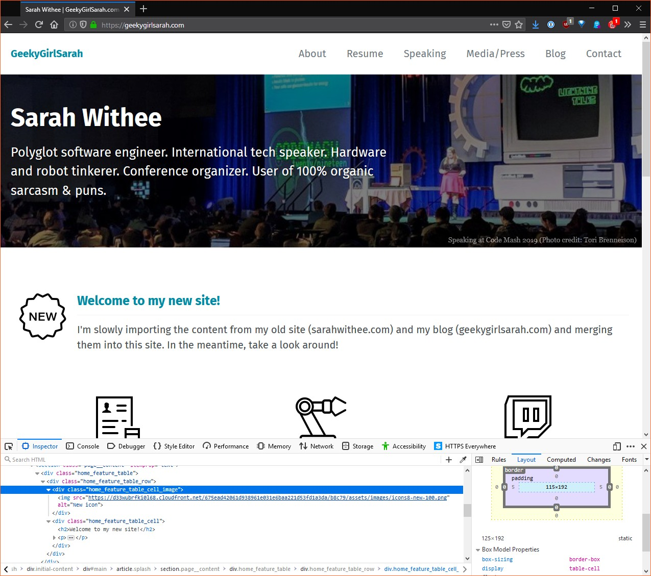 Screenshot of my new website along with the web developer tools open