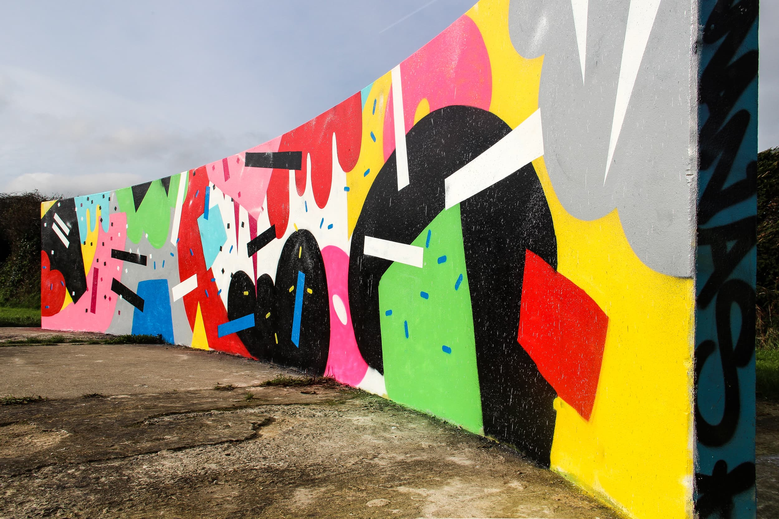callington fun abstract wall shapes and colours cornwall