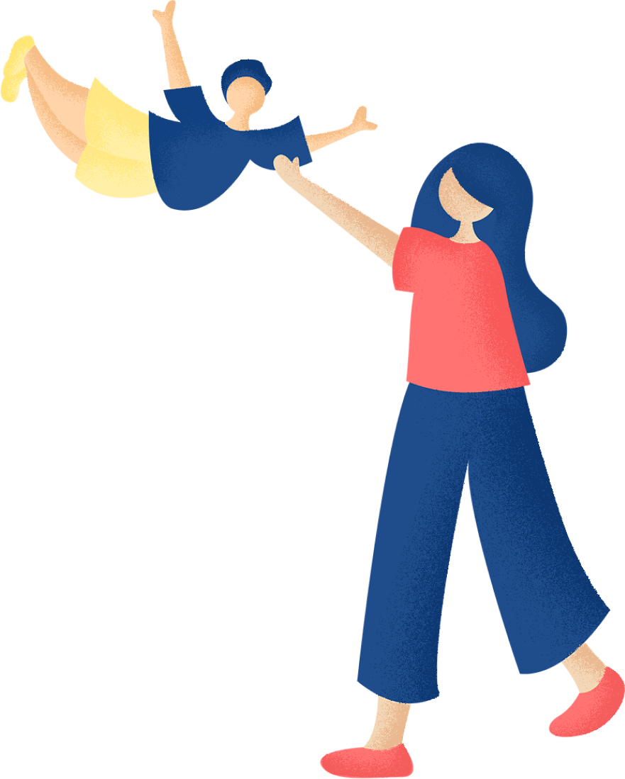 Illustration of mom with her child