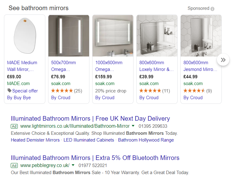 Google Shopping Ads example of mathroom mirror ads