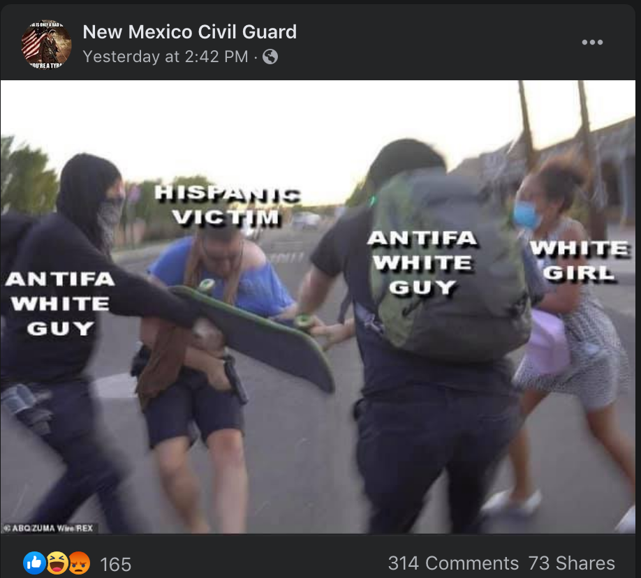 New Mexico Civil Guard meme taken from a video still of Baca's shooting. The meme labels protesters as 'white' and 'antifa' and Baca as a 'Hispanic victim.'