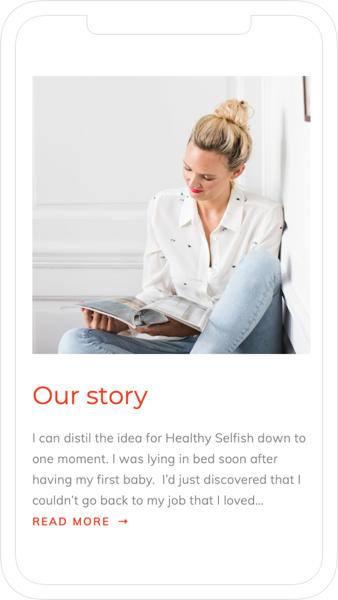 Simple, colourful, mobile website design for sought after life coach, Rosie Dalling of Healthy Selfish