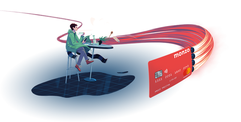 An illustration of a Monzo card with rocket thrusters rushing past a person having a coffee