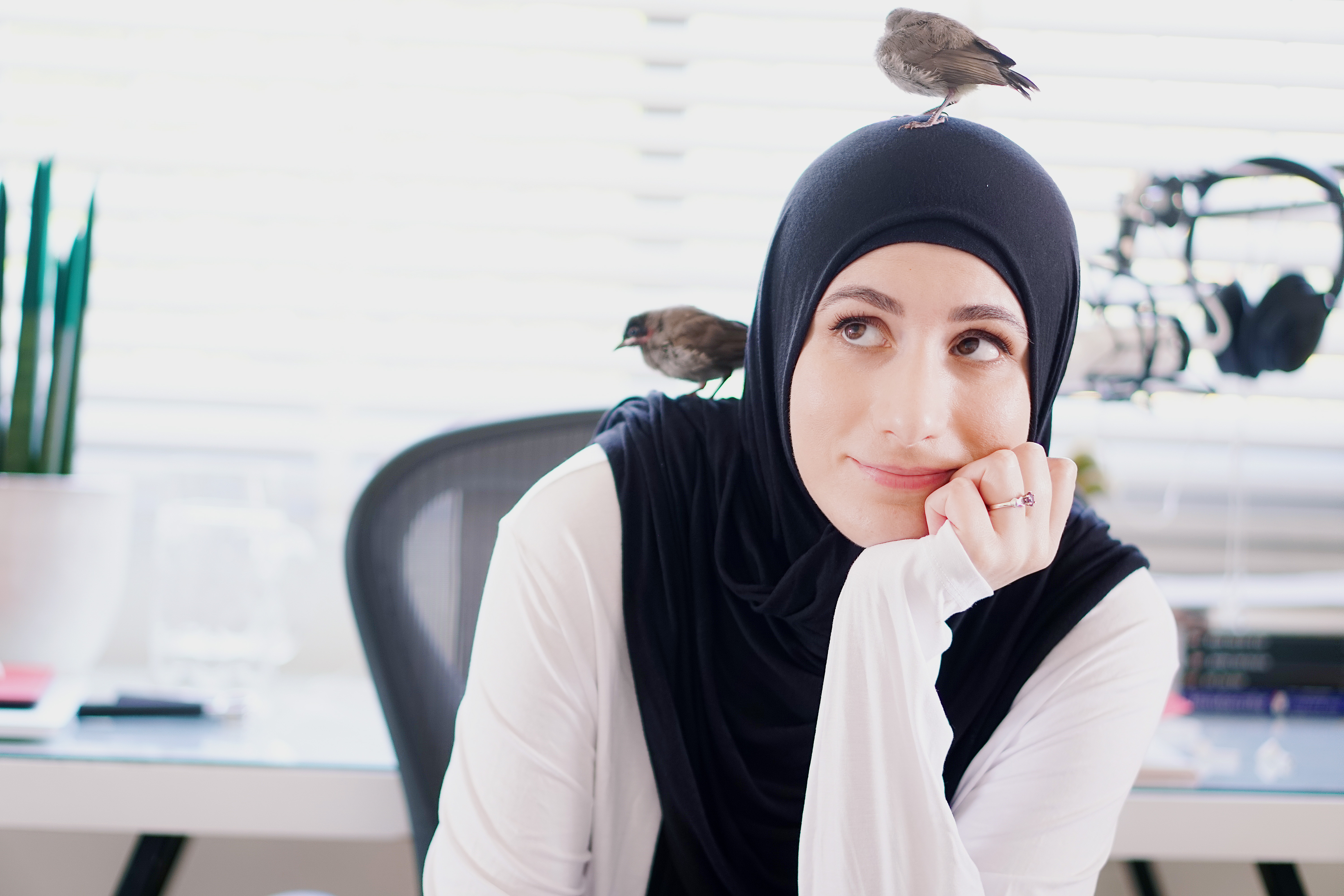 Photo of me with birds all over me