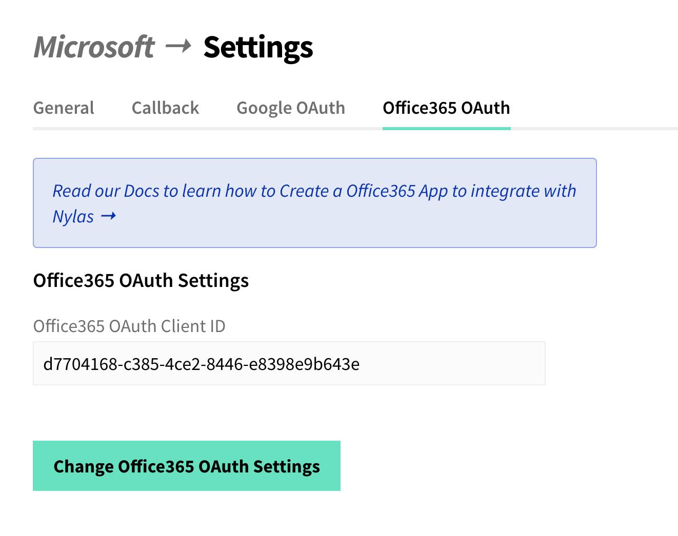 Nylas Dashboard, Microsoft App Settings