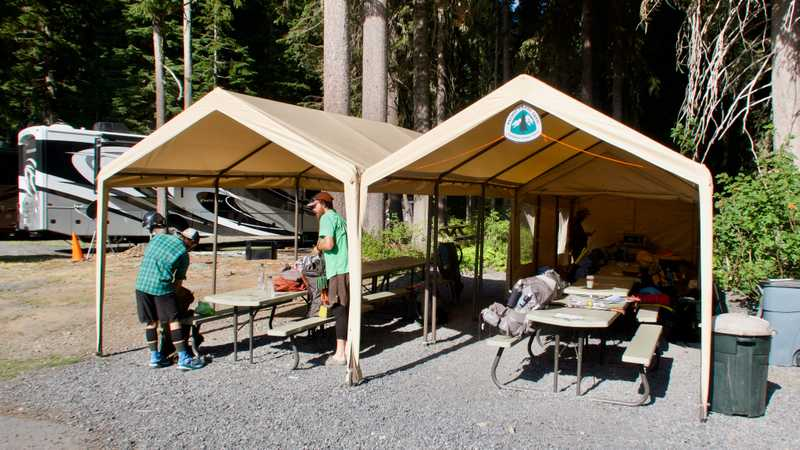 PCT thru-hiker space at Shelter Cove Resort