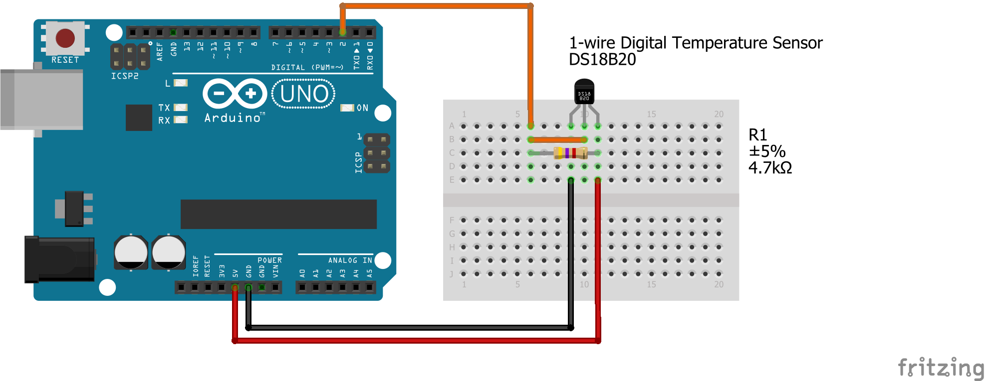 Graphical representation for DS18B20 with Arduino Uno