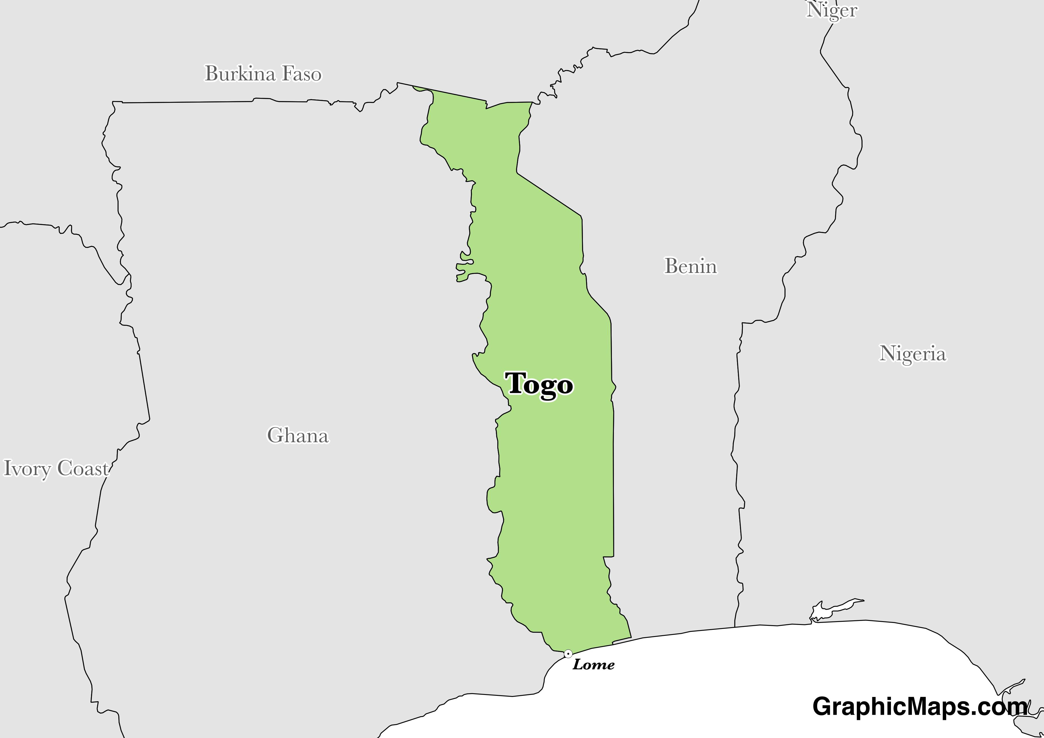Map showing the location of Togo
