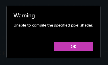 Warning: Unable to compile the specified pixel shader message