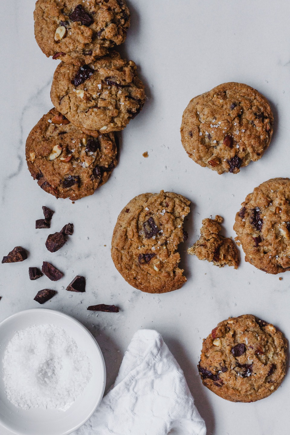 Salted Olive Oil Chocolate Chunk Cookies With Almonds