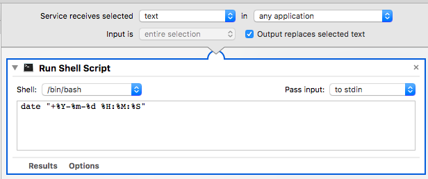 Automator Workflow: insert formatted date