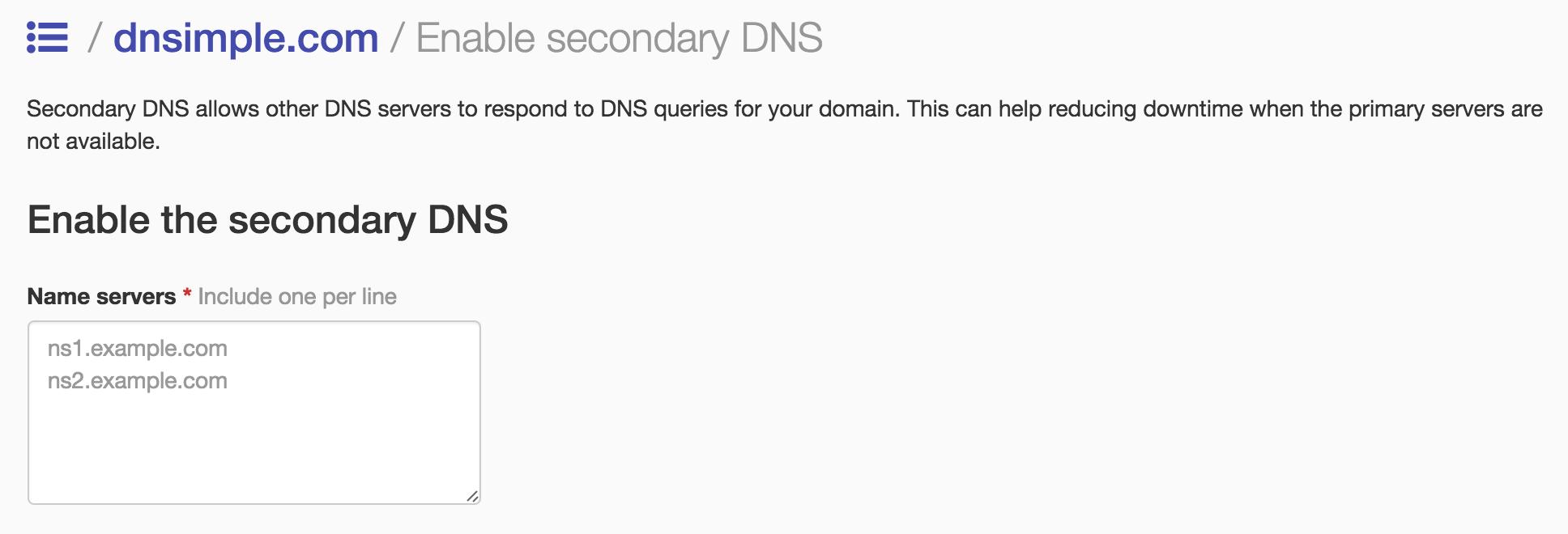 Secondary DNS UI link