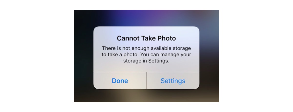 iOS notification that tells you that your storage is full and you cannot take the photo