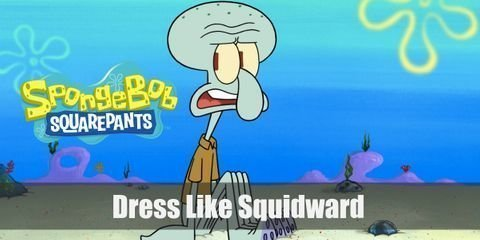 Squidward only wears one article of clothing in the series and that is a light brown collared top. But since you are not going bottomless, here is everything you need to look like Squidward