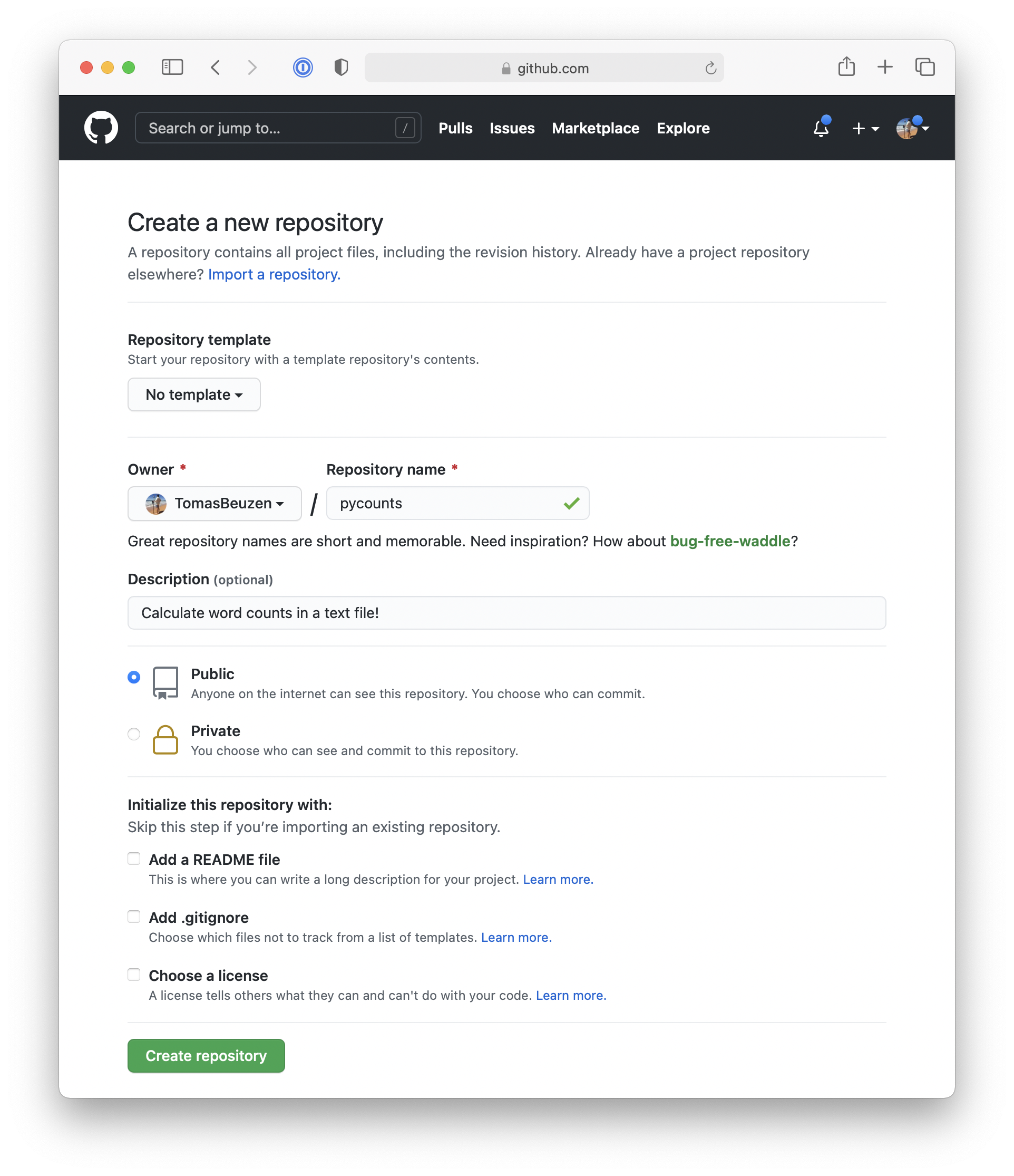 Setting up a new repository in GitHub.