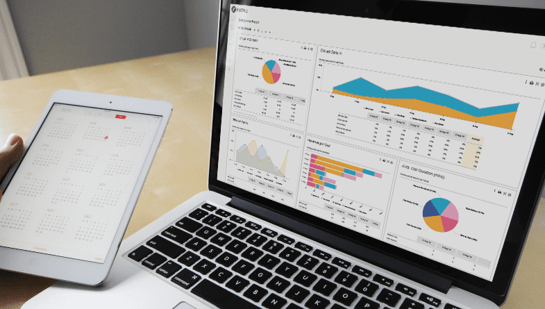 Business owner holds tablet, phone and laptop to show Futrli on screen creating the perfect bespoke dashboard for business. #dashboard