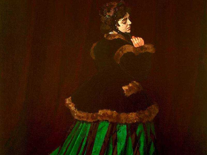 Claude Monet's Woman in Green Dress was submitted to the Salon in 1866; it was a huge hit.