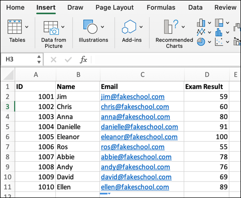 An Excel spreadsheet containing a student class list, with data on student ID numbers, names, email addresses, and their most recent exam results.