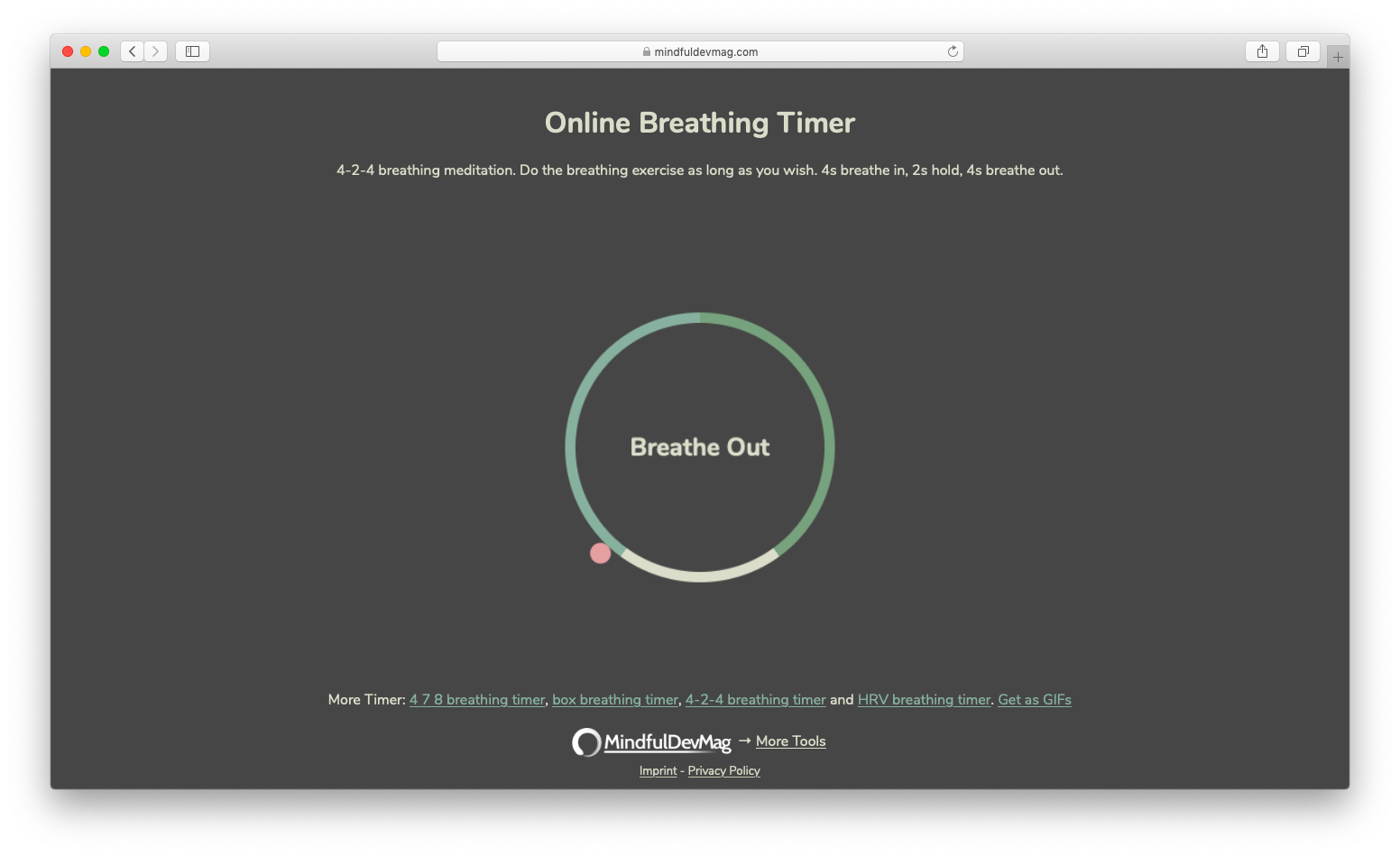 screenshot of the online breathing timer