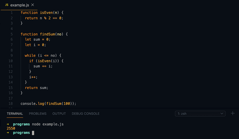 javascript program to find the sum of all even numbers in range