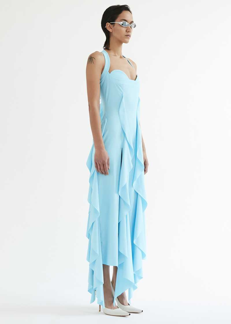 "Bal ruffle dress. GmbH SS20 ""20 20 VISION"" collection."