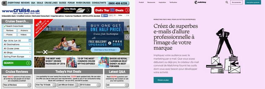 """captures d'un site web """"encombré"""" face à un site plus aéré"""