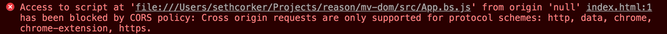 A common browser error when developing without a server
