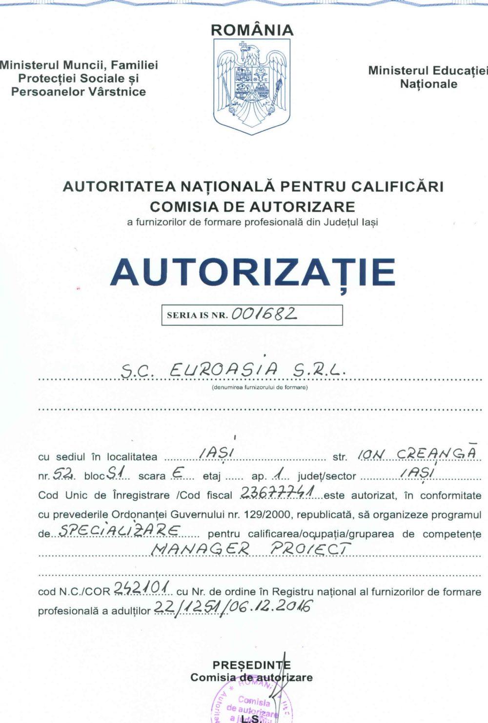 Autorizatie Manager Proiect