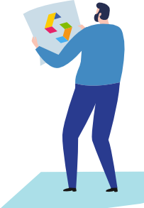 guy holding a paper with share.place logo