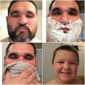 Collage a bearded man after clean shave