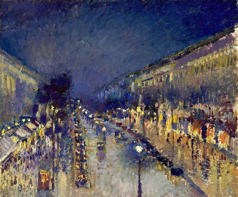 Pissarro's Boulevard Montmatre at Night.