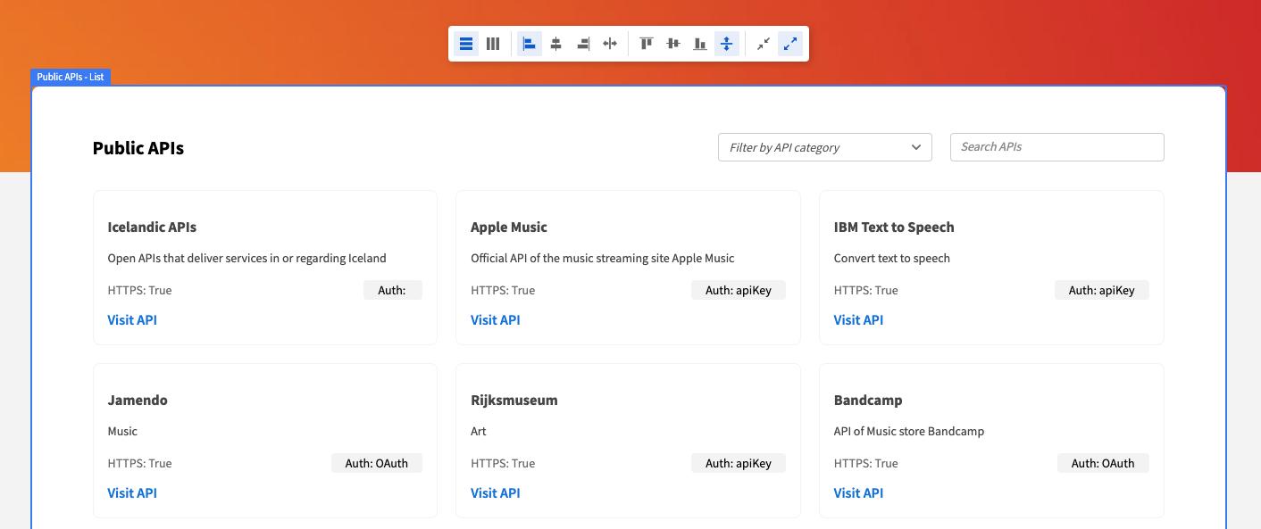 Budibase layout settings bar