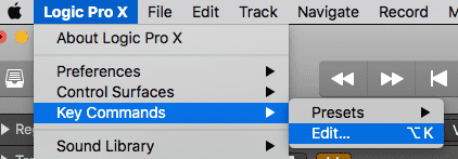 Open key commands in Logic Pro X