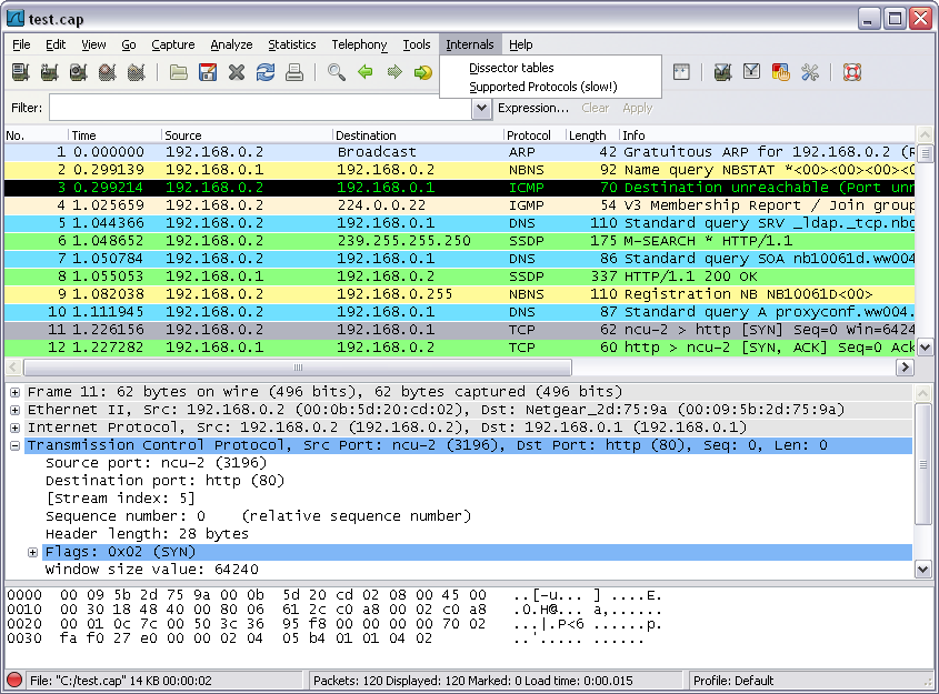 Menus de Wireshark - Analyse et capture de paquets (Wireshark)