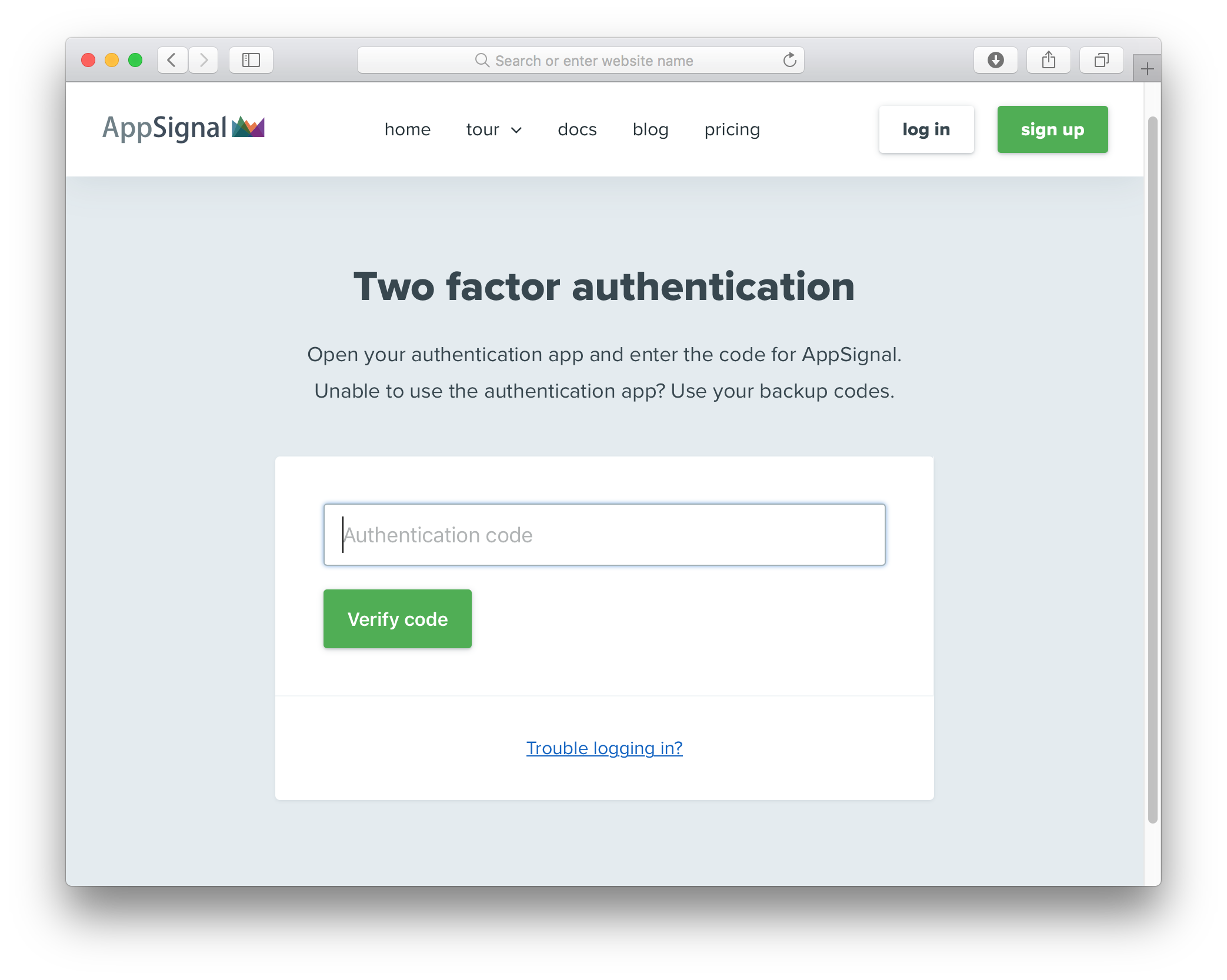 Signing into AppSignal with two-factor authentication enabled
