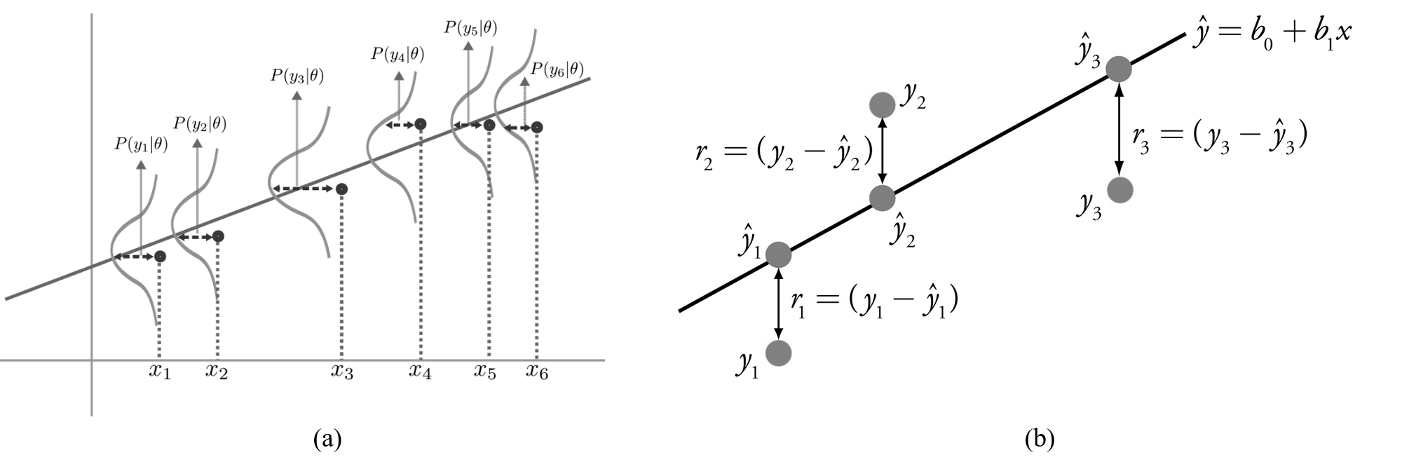 Linear regression perspectives: (a) Statistical model; (b) Function approximation