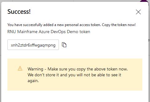 Azure DevOps PAT created