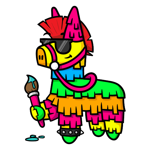 pinata holding paint brush