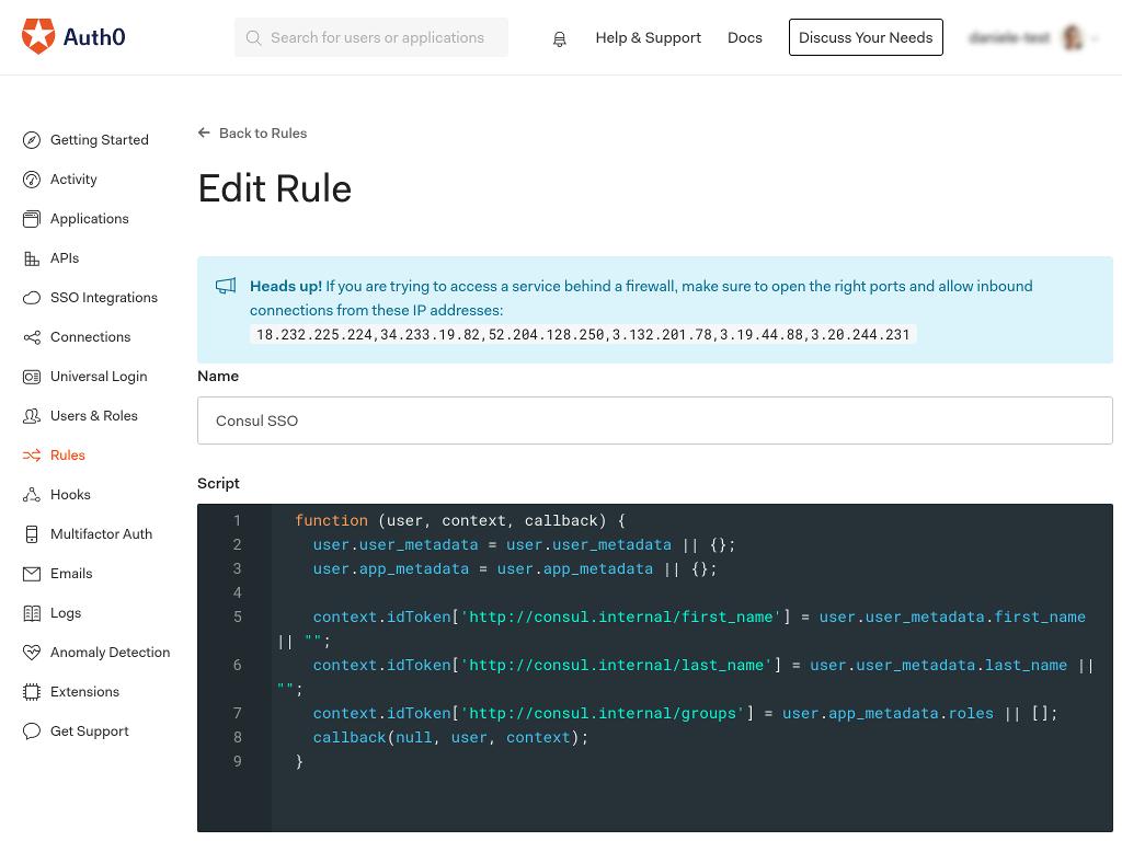 Auth0 UI configure callback rule