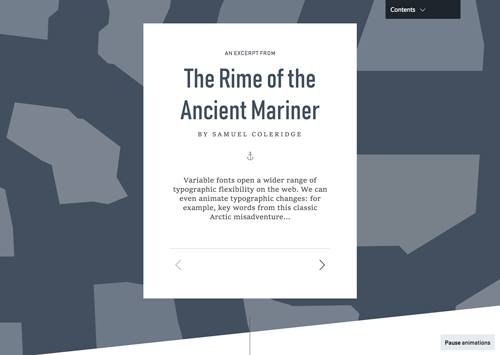 Part of the variable fonts demo, an excerpt from The Rime of the Ancient Mariner