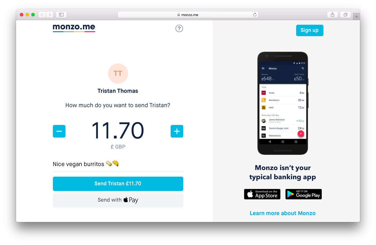 Monzo.me page