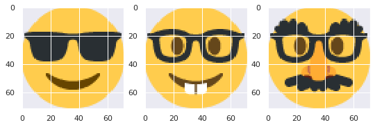 Face emojis with glasses cluster