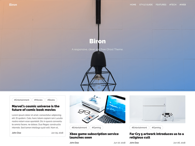 Biron - Responsive Free Ghost Blog Theme