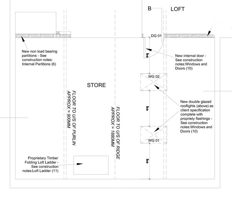 Technical drawing for loft conversion project