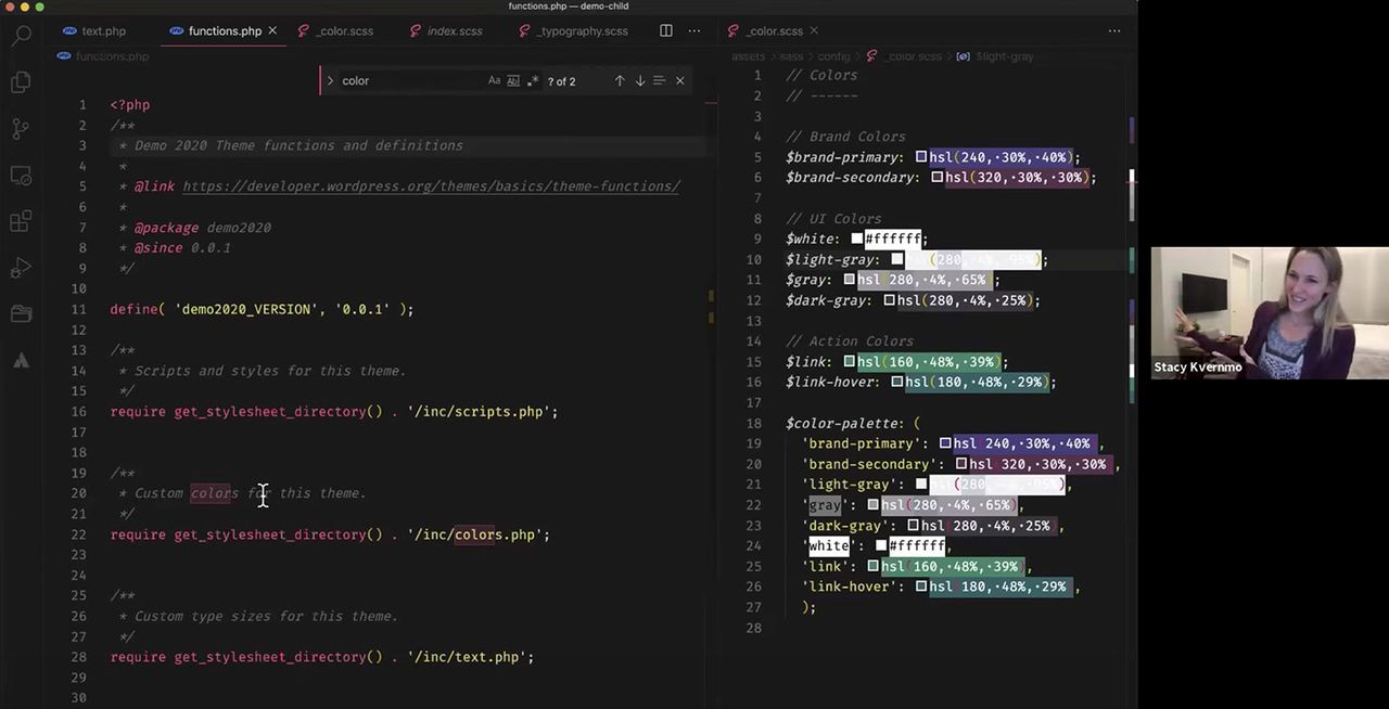 Stacy Kvernmo walks through the WordPress editor palette function code