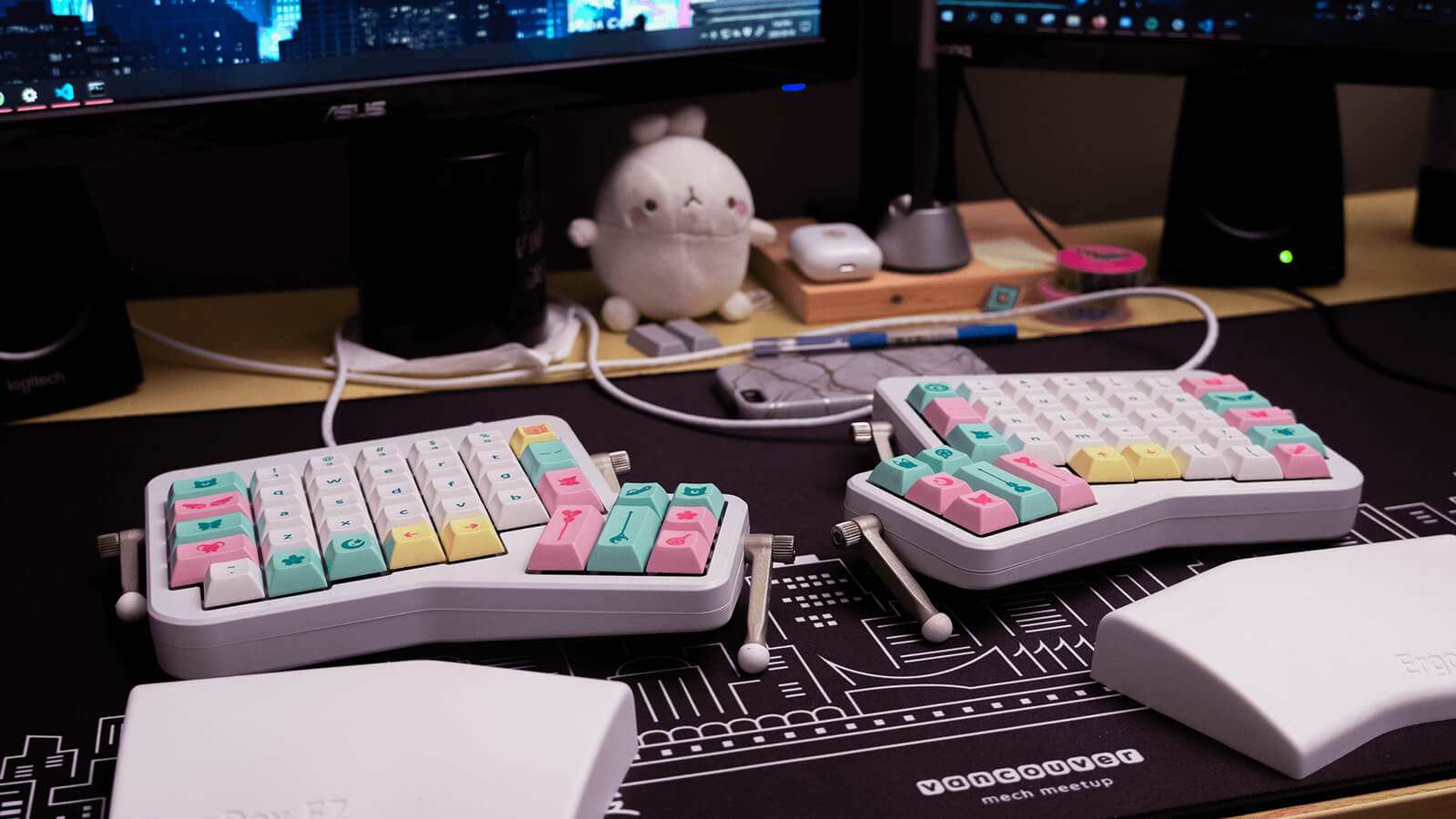 My keyboard on my desk.