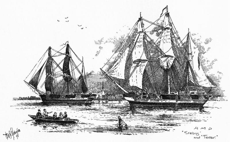 "Экспедиция Франклина (1845—1847). Суда ""HMS Erebus"" и ""HMS Terror"". Источник: ru.wikipedia.org"