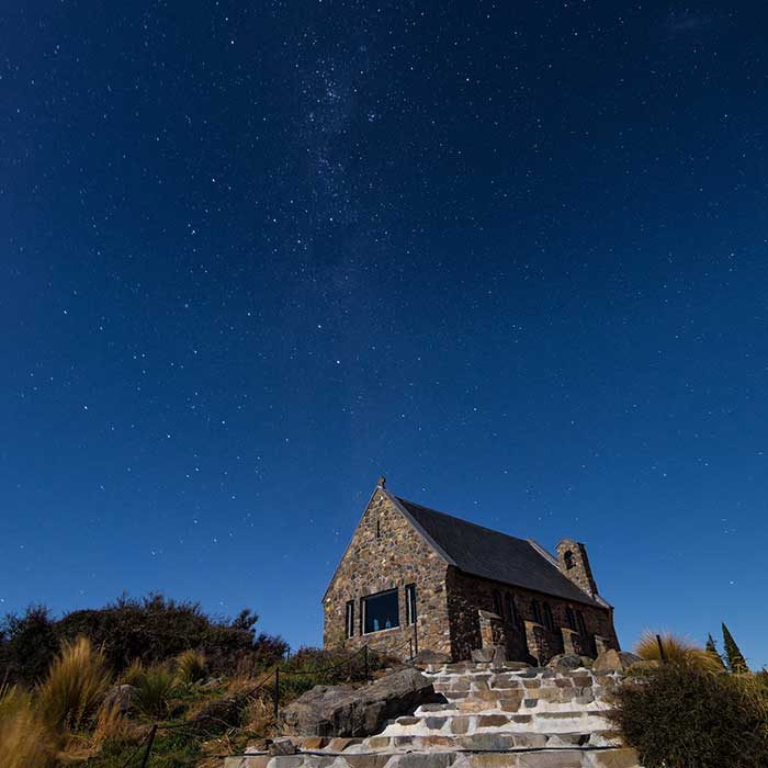 The Church of the Good Shepherd by night, Tekapo, New Zealand