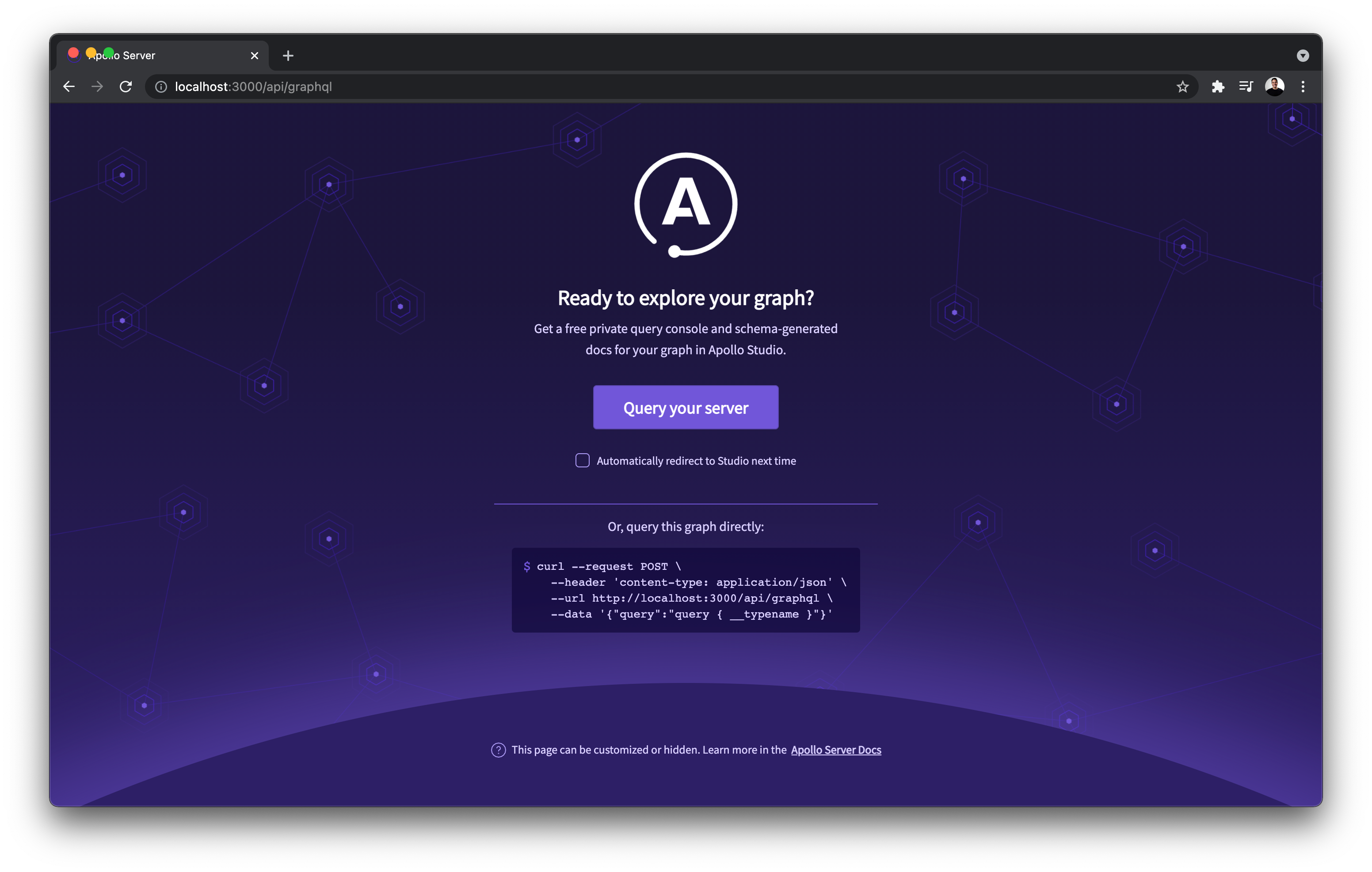 Apollo Studio asking if you are ready to start querying your Graph