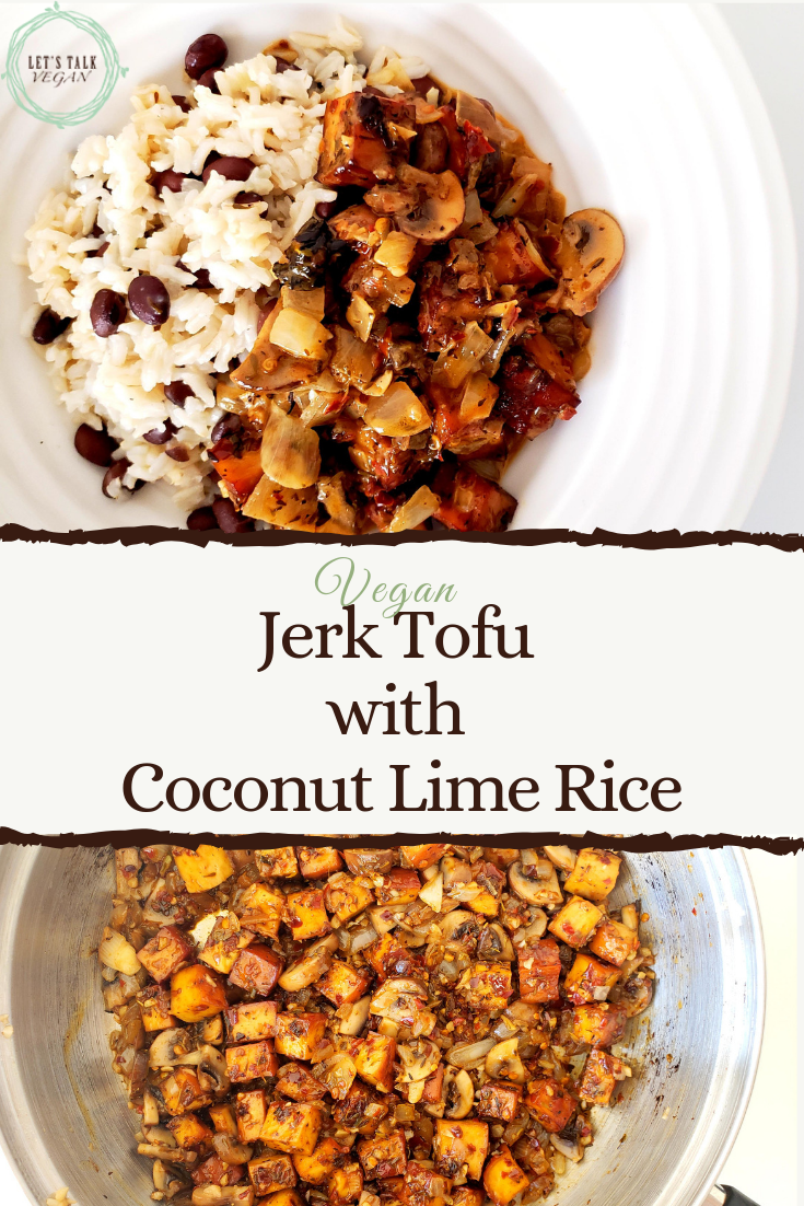 Jerk tofu over coconut rice